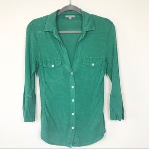 James Perse Green Button Up Contrast Ribbed Panel